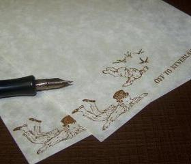 Off to Neverland - Lovely Parchment Paper - Stationery Set - 30 Sheets - 30 Self Sealing Envelopes