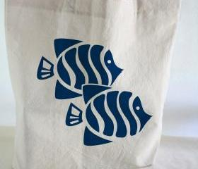 Cotton TOTE BAG - Beach tote - cotton tote bag with hand printed fishes