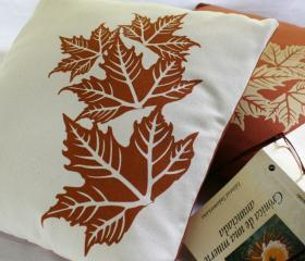 CUSHION COVER autumn leaves handprinted