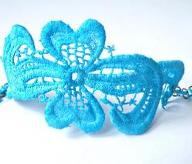 Turquoise Vintage Bracelet Lace Cuff Vintage Lace Jewelry Hand dyed Upcycled Jewellery Unique Jewelry Handmade by SteamyLab.