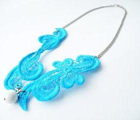 Turquoise Lace Vintage Necklace Spring Summer Fashion Textile Jewelry Statement Jewelry Unique Jewelry by SteamyLab.