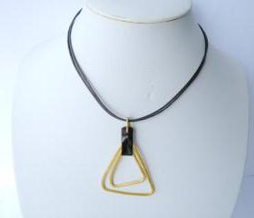Wire Wrapped Aluminum Pendant Necklace Dark Brown Leather Gold Fashion Accessories Minimalist by SteamyLab.