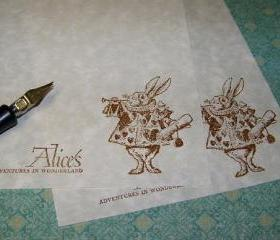 Luxurious Alice in Wonderland 'White Rabbit Blows His Horn' Vintage Parchment Stationery Set 50 Parchment Sheets 25 Envelopes
