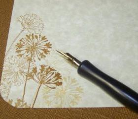 Floral Dandelion - Two Tone - Eco - Eco Friendly - Stationery Set - 30 Parchment Sheets - 30 Self Sealing Envelopes