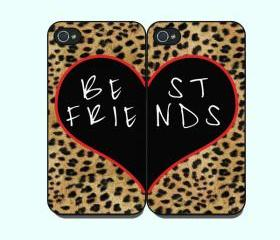 Best Friends with Leopard pattern-- iphone 4 case in Pair,iphone 4 cover, in durable plastic case ,black or white case side