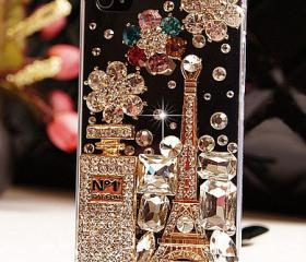 Unique Shiny Rhinestone Hardmade Transparent Hard Cover Case For Iphone 4/4s
