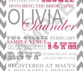Bridal Shower Modern Chevron Invitation( Digital File )