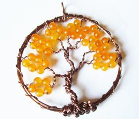 Orange Tree of Life Pendant - Bohemian Jewelry - Antique Copper Trees - Hippie, Boho Style