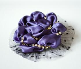 Elegant purple brooch, woman brooch, black, pin, lace, crystals