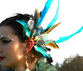 Spiritual.Aura Meanings : Copper Wire - Green/Blue/Exotic Feathers Ear Cuff **FREE SHIPPING**