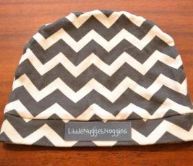 Knit Black Chevron Baby Beanie