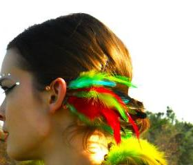 Spiritual.Aura Meanings : Copper Wire - Red/Yellow/Blue/Green Rooster Feathers Ear Cuff **FREE SHIPPING**