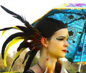 Spiritual.Aura Meanings : Copper Wire - Red/Yellow/Green Rooster Feathers Ear Cuff **FREE SHIPPING**