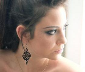 Black Spiral Earrings