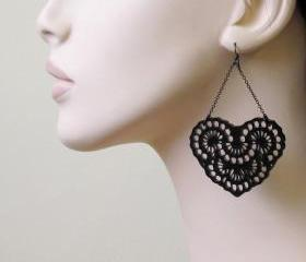 French Lace - Romantic Heart Chandelier Earrings