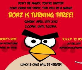 Angry Bird Birthday Invitation 6 options ( Digital File )