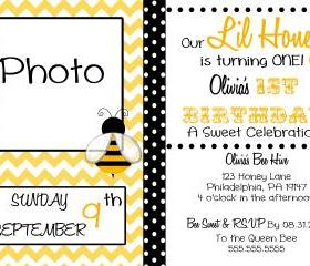 Little Honey Chevron Birthday Invitation ( Digital File ) 