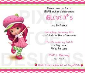 Strawberry Shortcake New Birthday Invitation ( Digital File )