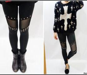 Black Studded Mesh Leggings
