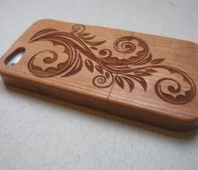 Iphone 5 case - wooden cases bamboo, cherry and walnut wood - Flower