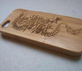 Iphone 5 case - wooden cases bamboo, cherry and walnut wood - Dragon - laser- engraved