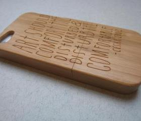 Iphone 5 case - wooden cases bamboo, cherry and walnut wood - Art should disturb - laser- engraved