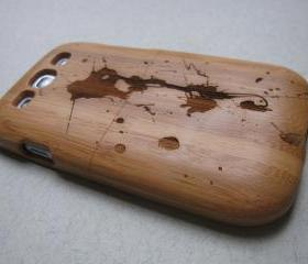Samsung Galaxy S3 case - wooden cases walnut / cherry or bamboo - Paint splash