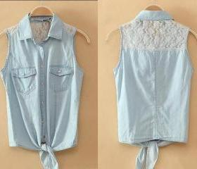 Denim Button-Up Shirt With Lace