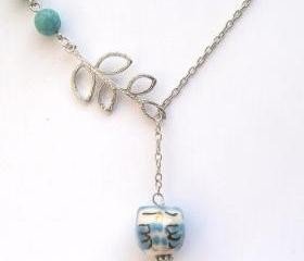 Silver Plated Brass Leaf Turquoise Porcelain Owl Necklace