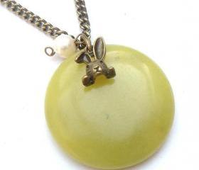 Antiqued Brass Bunny Lemon Jade Pearl Necklace
