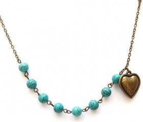Antiqued Brass Heart Turquoise Necklace