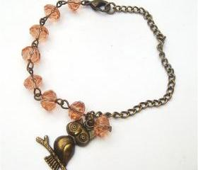 Antiqued Brass Owl Quartz Bracelet