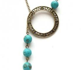Antiqued Brass Circle Green Turquoise Necklace