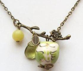 Antiqued Brass Leaf Quartz Jade Porcelain Owl Necklace