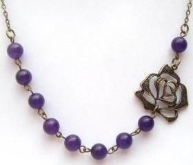 Antiqued Brass Flower Purple Jade Necklace