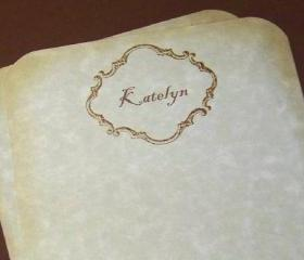 Elegant Handmade Vintage Style Personalized Stationery Set