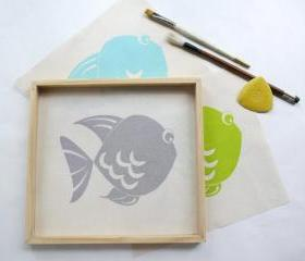 Baby room decor - Screen printed fish, set of 3
