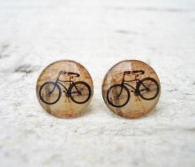 Retro Bicycle Ear Studs Posts Beige Earrings , Bike Jewelry, Vintage (E14)