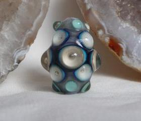 Handmade Glass Lampwork bead - blueberry marble bubble dots focal