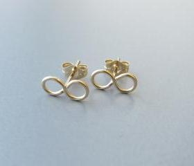 14K Gold Infinity Post Earrings, Gold Infinity Studs, Gold Infinity Post, Gold Infinity Earring