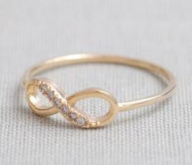 US 7 Size-delicate Infinity ring in Gold