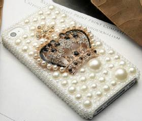 Handmade Bling Pearl and Alloy Crown cell phone case for iPhone 4 or iphone4s cover