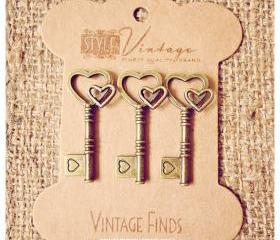 Double heart Key Brass Charm Metal