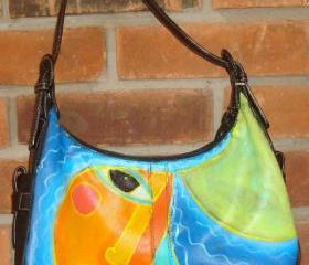 Hand Painted Handbag Purse Shouder Bag Funky Abstract Portrait of Woman with Blue Hair