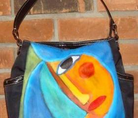 Hand Painted Handbag Purse Shoulder Bag Funky Abstract Portrait of Woman with Blue Hair