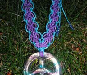 Glass Peace Sign Pendant Necklace