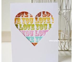 Love you handmade card for sale