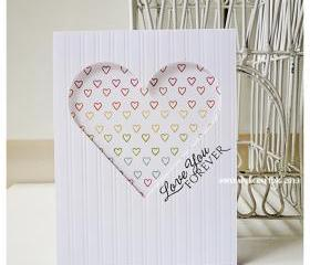Valentine Day Outline heart Print handmade card for sale