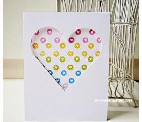 Valentine Day Circle heart Print handmade card for sale 