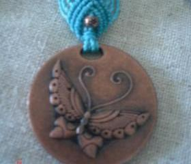 Copper Butterfly Pendant Necklace